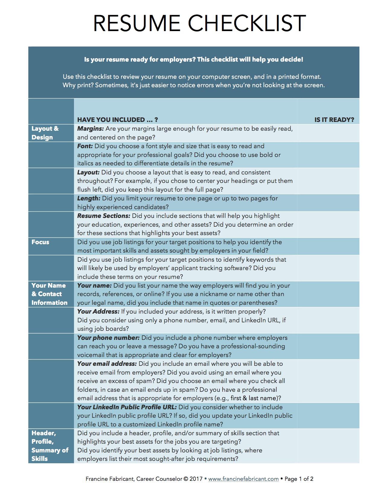 francine fabricant job search resume checklist of transferable skills writing best Resume Resume Checklist Of Transferable Skills