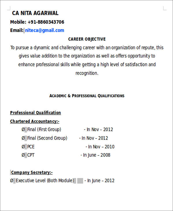 free accountant resume templates in ms word chartered format fresher food prep Resume Chartered Accountant Resume Format Download