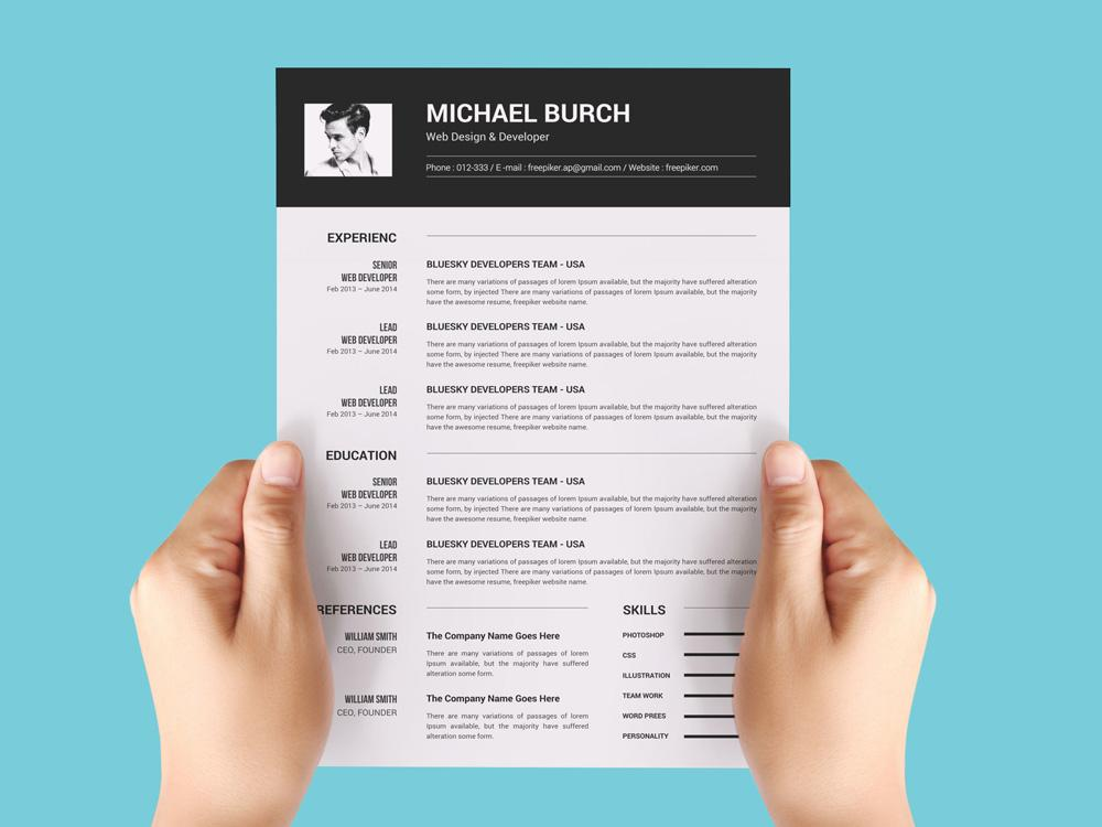 free black and photo cv resume template in microsoft word creativebooster awesome Resume Free Awesome Resume Templates Microsoft Word