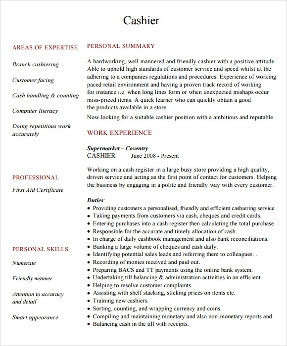 free cashier resume templates in pdf responsibilities sample entry level program manager Resume Cashier Responsibilities Resume