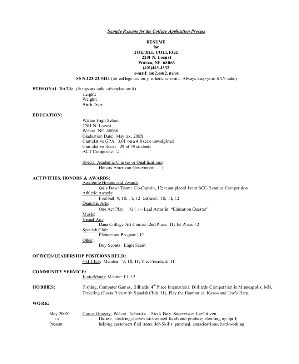 free college resume templates in pdf ms word for admission application medical social Resume Resume For College Admission