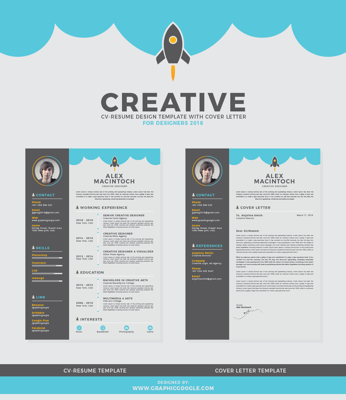 free creative cv resume design template with cover letter for designers 2018graphic Resume Unique Resume Cover Letter