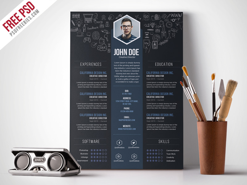 free creative designer resume template psdfreebies photoshop templates biomedical Resume Free Resume Photoshop Templates