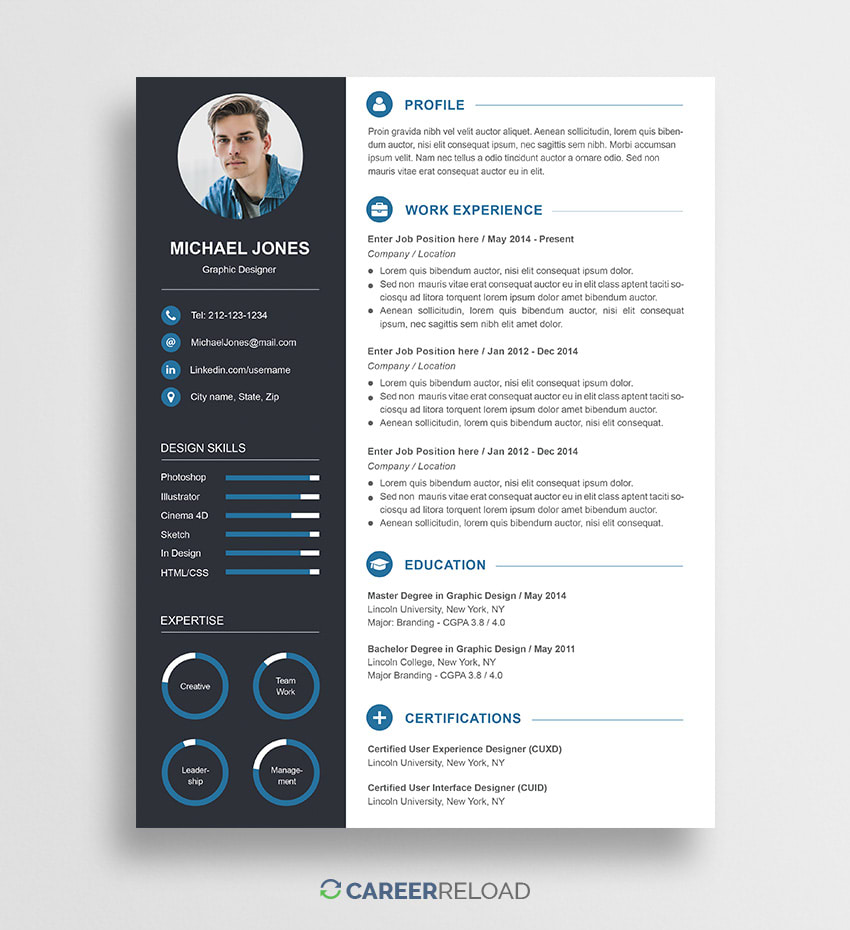 free creative resume template michael career reload for photoshop job writing examples Resume Resume For Photoshop Job