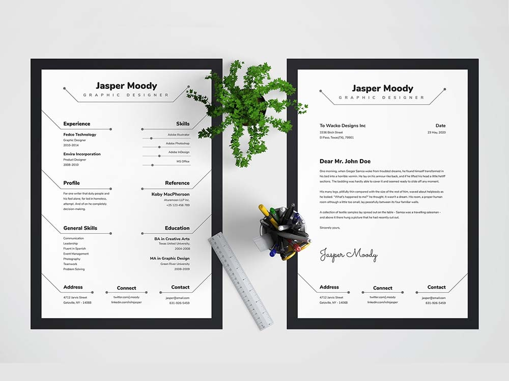 free creative resume template with matching cover letter by julian ma on dribbble and Resume Free Matching Cover Letter And Resume Templates