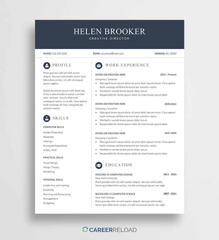 free cv template for word career reload resume templates helen priest now americas Resume Free Word Resume Templates 2019