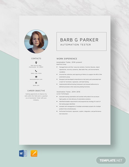 free designer resume cv template word indesign automation tester drilling consultant uncg Resume Automation Tester Resume
