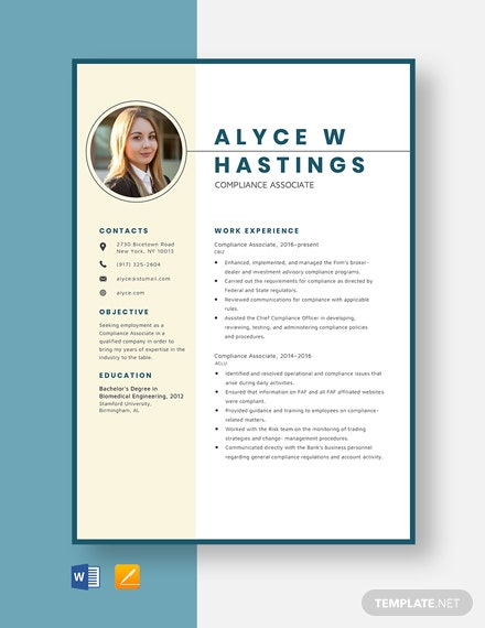free designer resume cv template word indesign compliance associate golf summary examples Resume Compliance Associate Resume