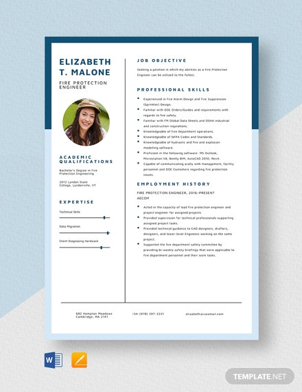 free designer resume cv template word indesign fire protection engineer parsing Resume Fire Protection Engineer Resume