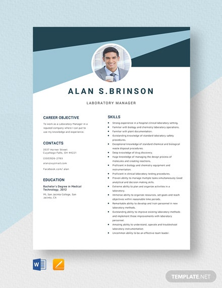 free designer resume cv template word indesign laboratory manager server skill set for Resume Laboratory Manager Resume