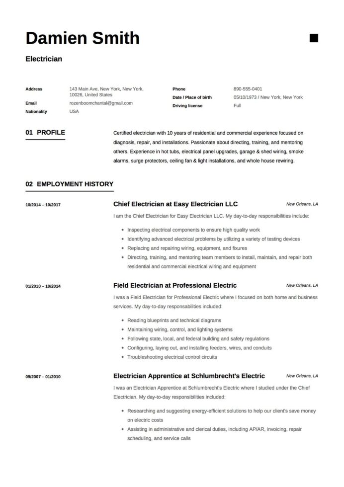 free electrician resume sample template example cv examples microsoft word minimalist Resume Electrician Resume Template Microsoft Word