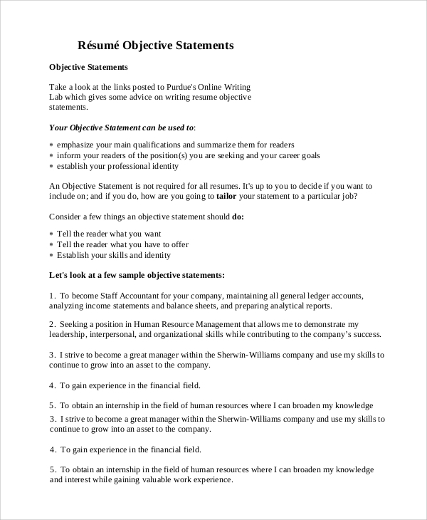free general resume objective samples in pdf professional statement examples tally Resume Professional Resume Objective Statement Examples