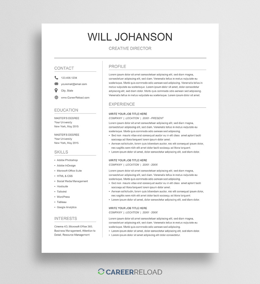 free google docs resume template career reload sheets software testing experience sample Resume Google Sheets Resume Template