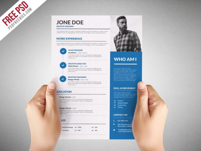 free graphic designer cv resume template in photoshop format creativebooster templates Resume Free Resume Photoshop Templates