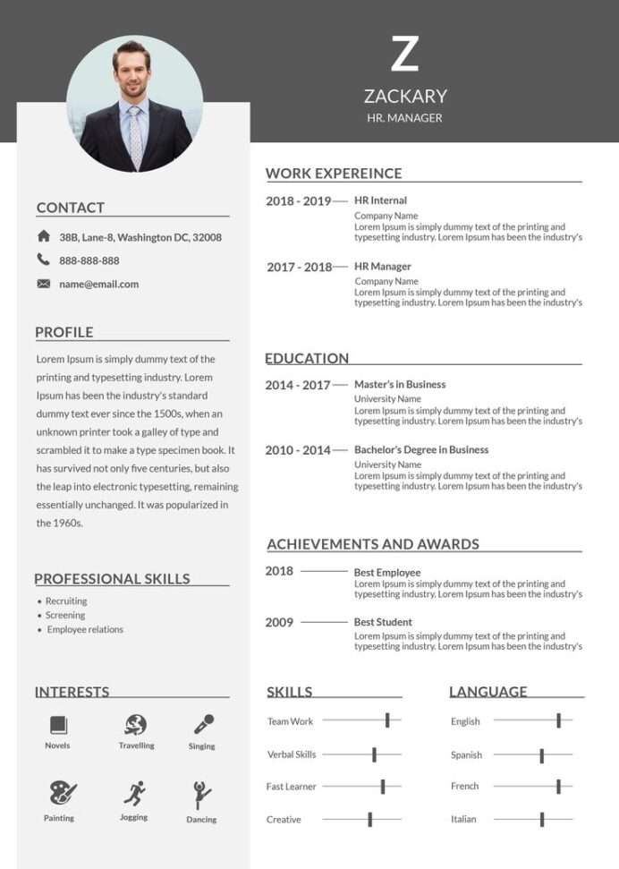 free hr manager resume cv template in photoshop microsoft word creativebooster of Resume Resume Of Microsoft Employee