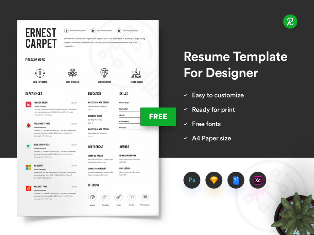 free infographic resume template with portfolio and cover letter paper size for Resume Paper Size For Resume And Application Letter