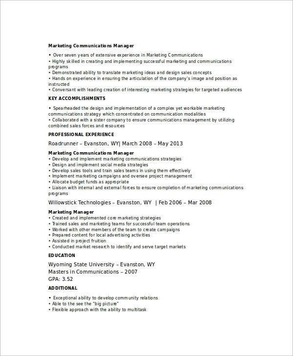 free marketing resume templates in ms word pdf communications manager template management Resume Marketing Communications Manager Resume