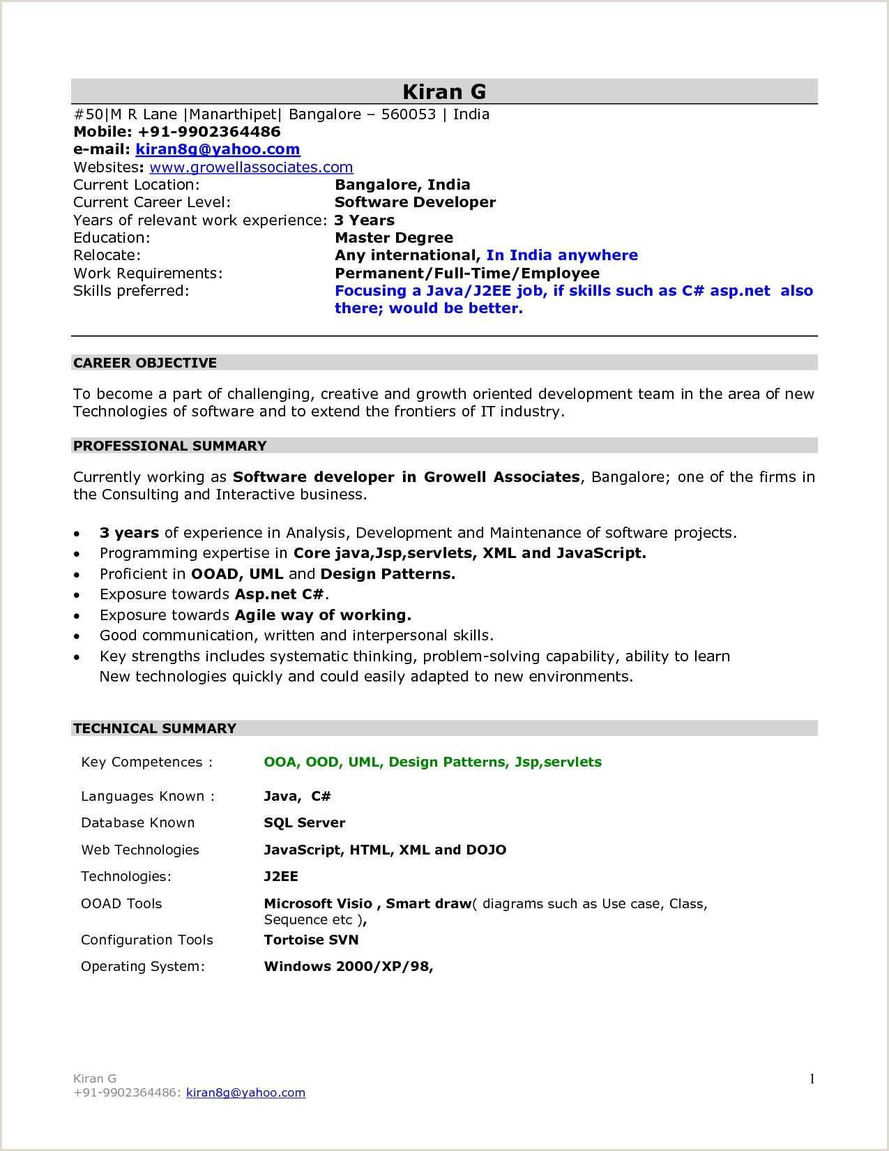 free mca fresher resume format best examples for students retail analyst human resource Resume Resume Format For Mca Students