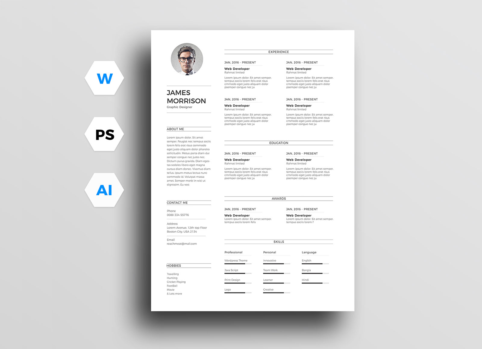 free minimal cv resume template in word good minimalist data analyst summary software for Resume Minimalist Resume Template Free Word