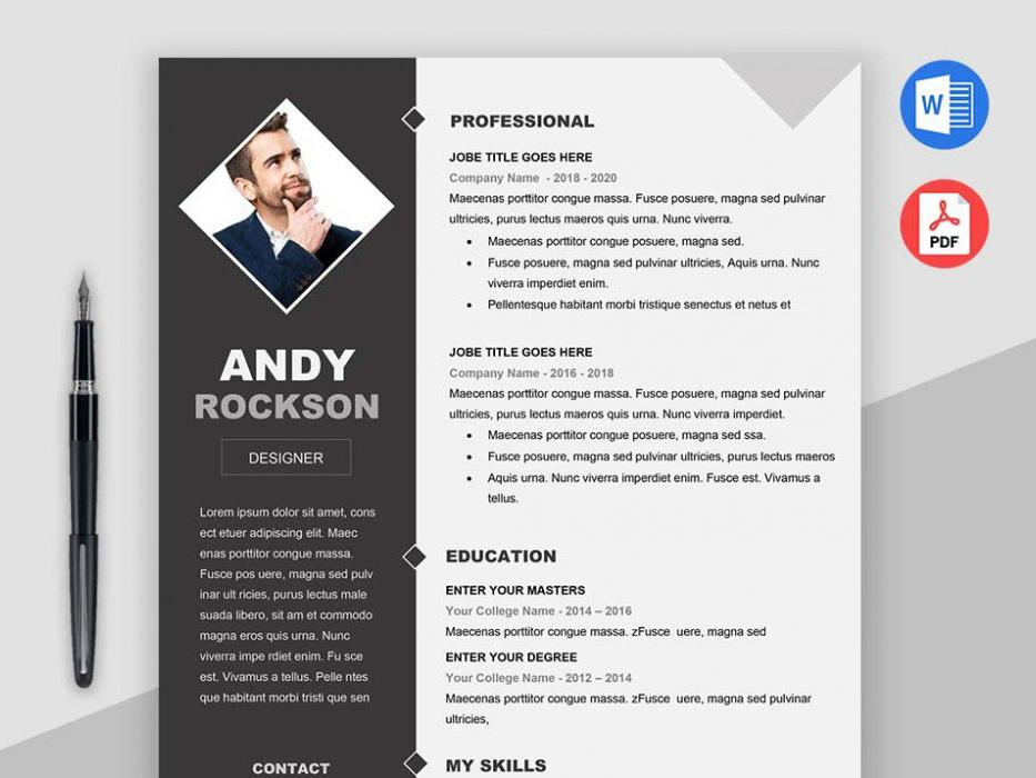 free modern elegant photo cv resume template in microsoft word creativebooster rockson Resume Elegant Resume Template