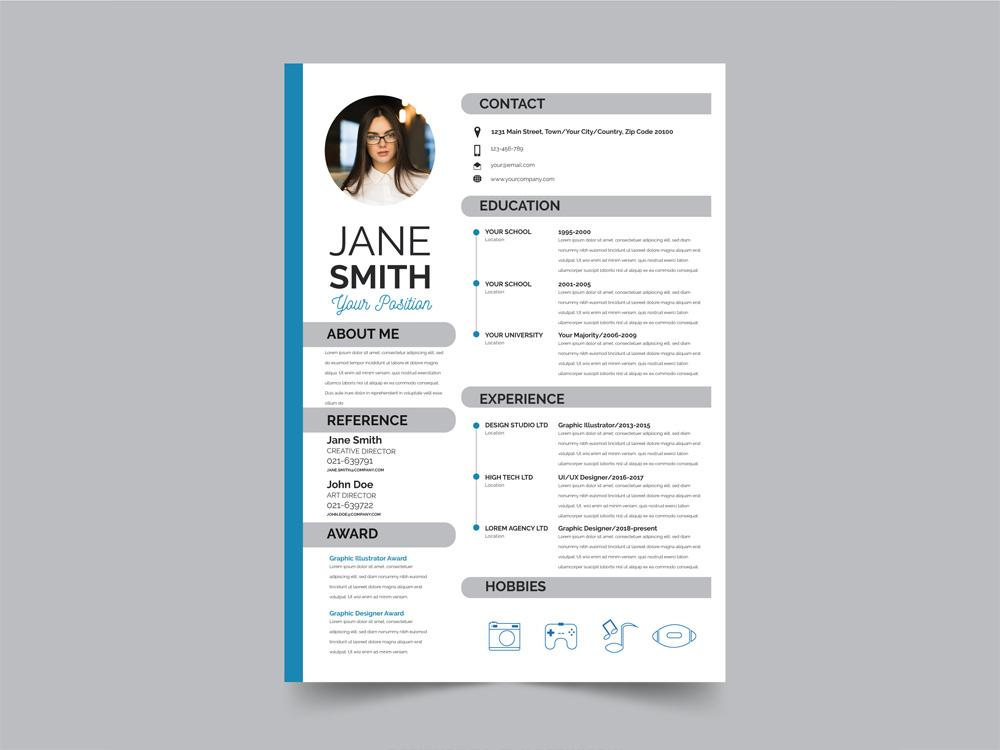free modern resume cv template with flat style design in illustrator creativebooster Resume Free Resume Illustrator Template