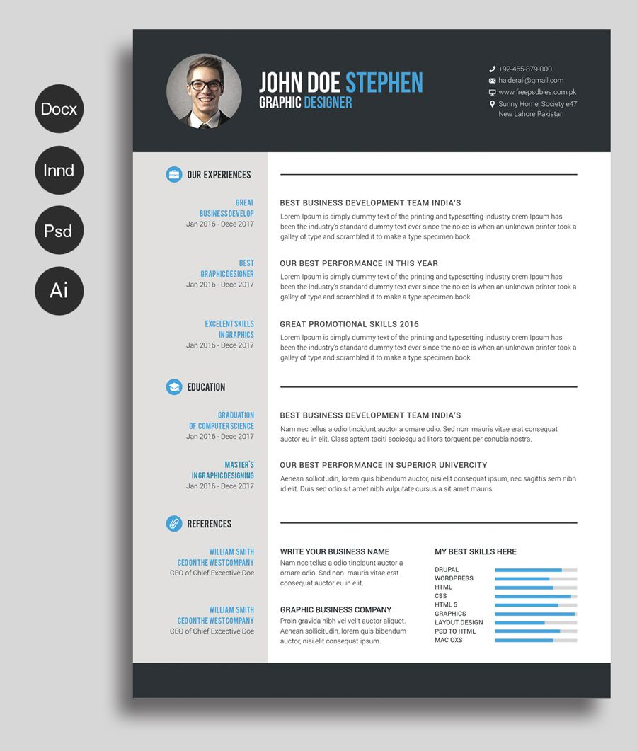 free ms word resume and cv template design resources printable graphic junior software Resume Free Graphic Design Resume Template Word