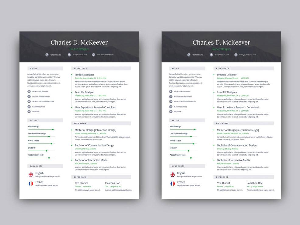 free one resume cv template for job seeker in photoshop creativebooster mckeever all Resume Resume For Photoshop Job