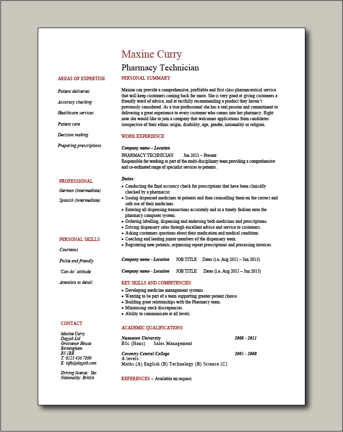 free pharmacy technician cv templates resume template for call center agent hotel Resume Pharmacy Technician Resume Template Free