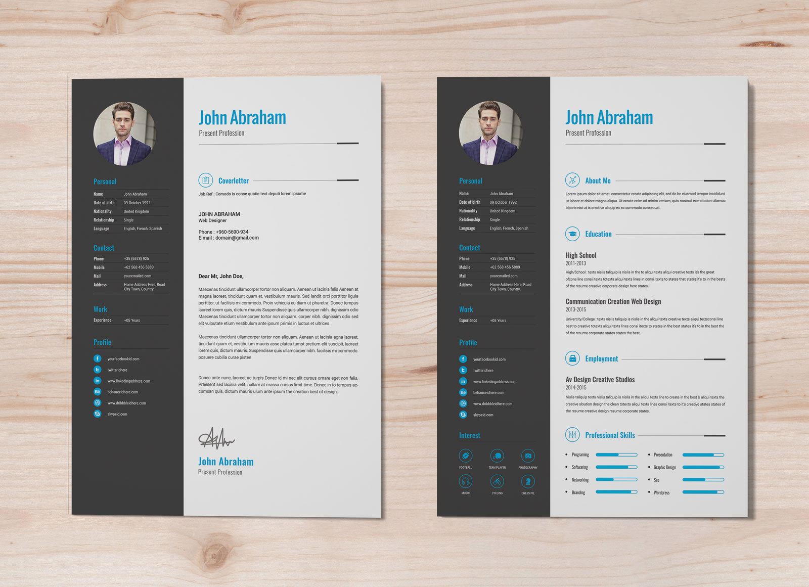 free professional resume template cover design in word good photoshop templates junior Resume Free Resume Photoshop Templates