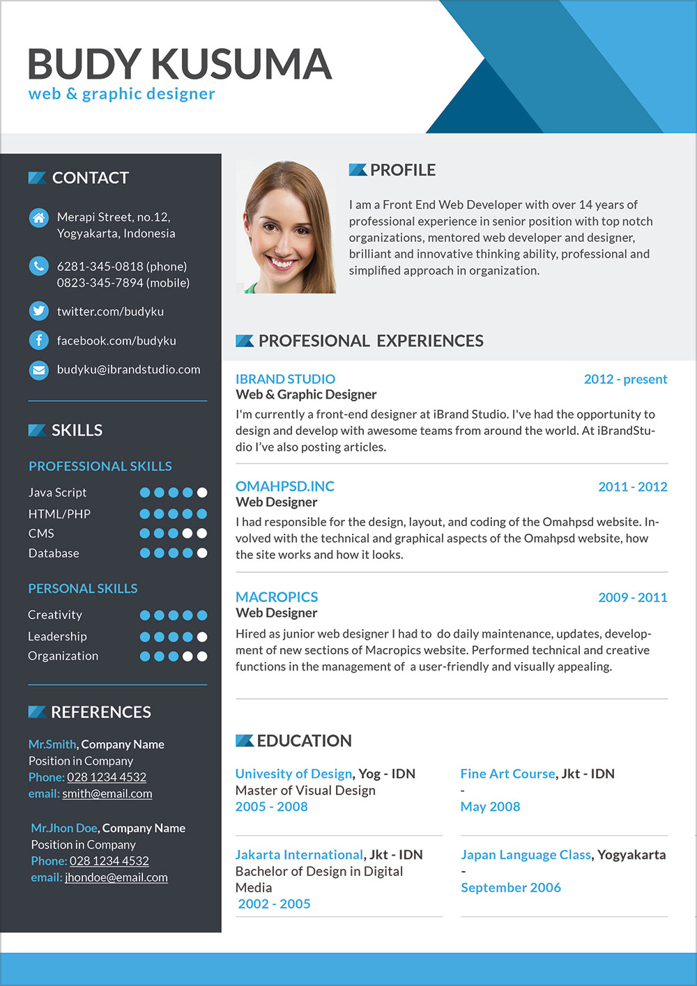 free professional resume template for job in photoshop format good design templates umuc Resume Resume For Photoshop Job