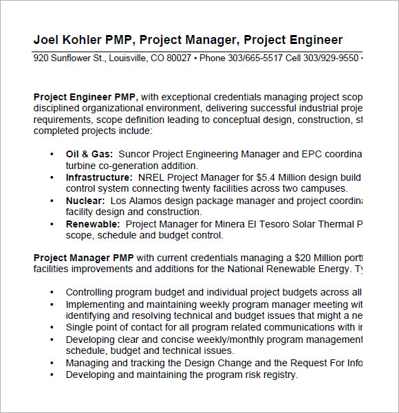 free project manager resume templates in pdf oil and gas joelkohlerresume pdf1 sample for Resume Free Oil And Gas Resume Templates