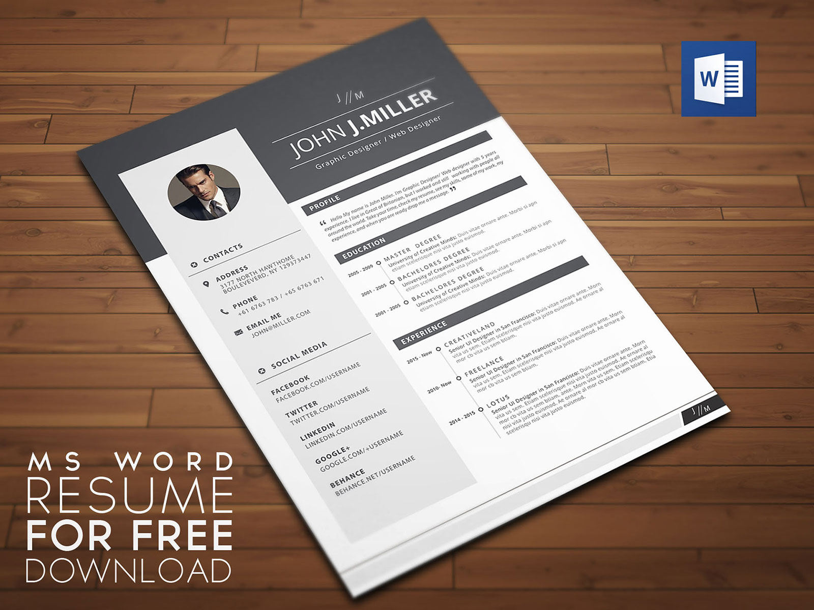 free resume cv template for ms word format good graphic design in material mover skills Resume Free Graphic Design Resume Template Word