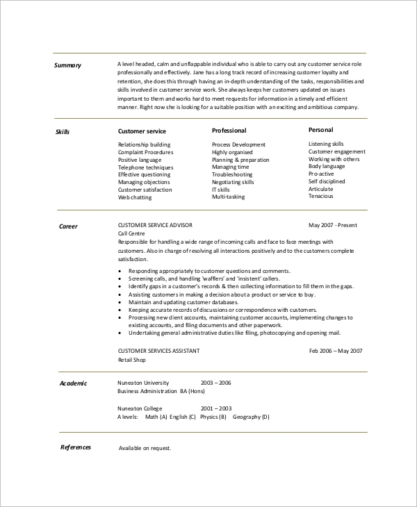 free resume summary templates in pdf ms word customer service overview example for Resume Customer Service Resume Overview