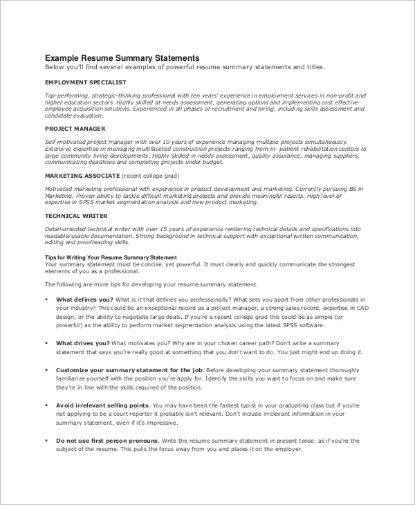 free resume summary templates in pdf ms word powerful examples statement example supply Resume Powerful Resume Summary Examples