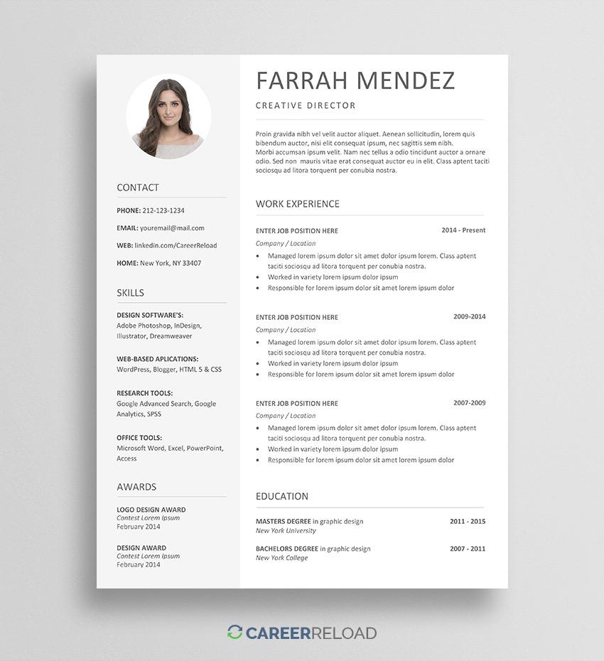 free resume template for word career reload templates farrah winnipeg casual teaching Resume Free Word Resume Templates 2019