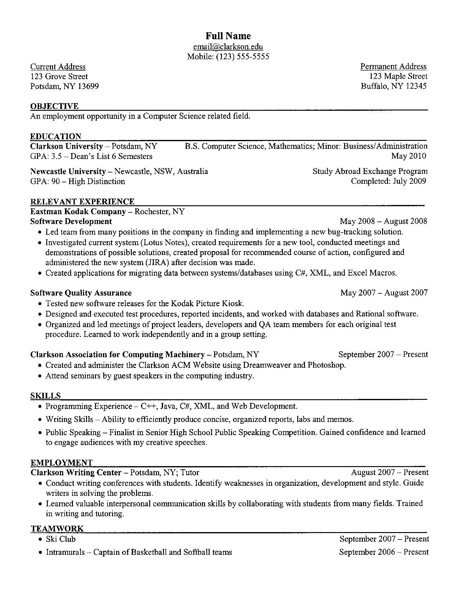 free resume templates computer science skills student examples sample conflict resolution Resume Sample Computer Science Resume