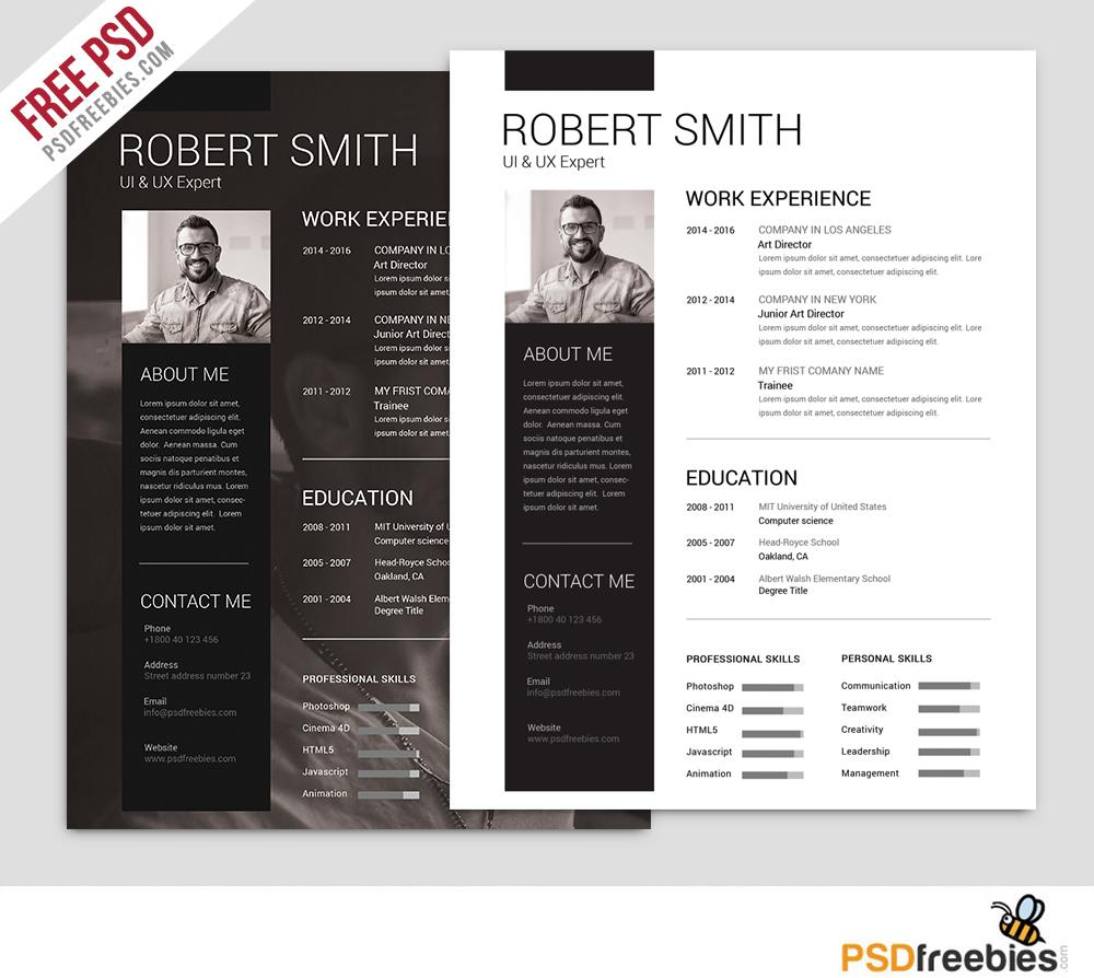 free resume templates in photoshop format creativebooster simple and clean template Resume Free Resume Photoshop Templates