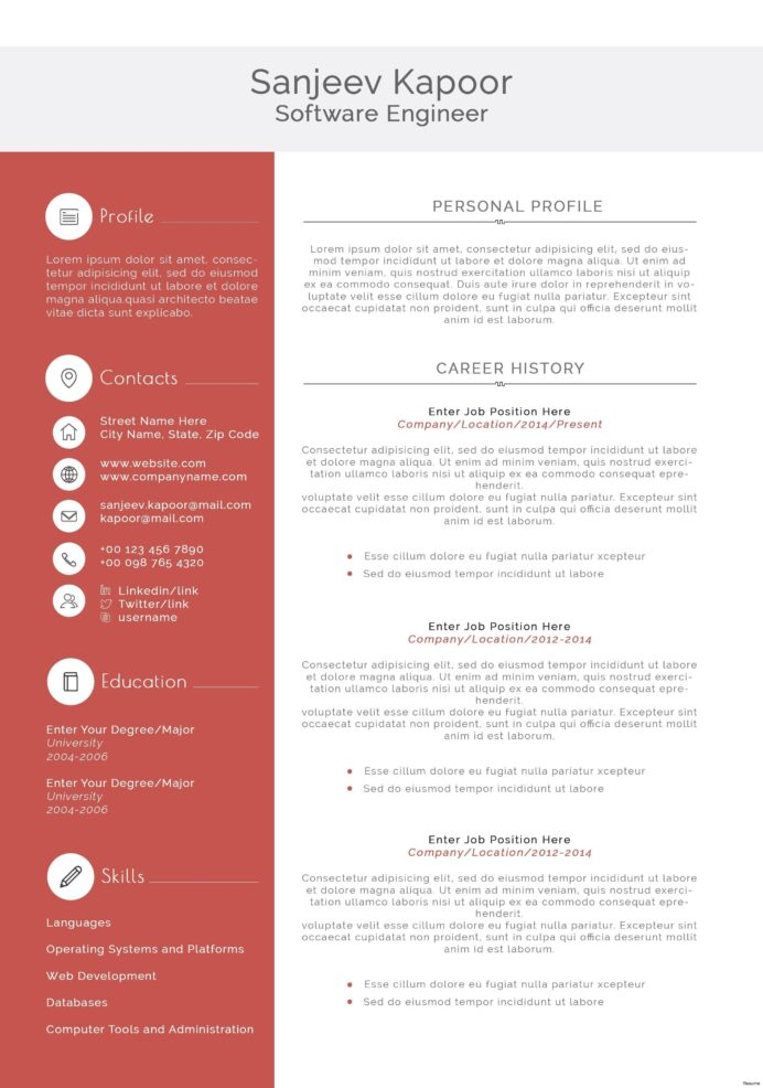 free resume templates software engineer template word design developer personal care Resume Software Developer Resume Template Word
