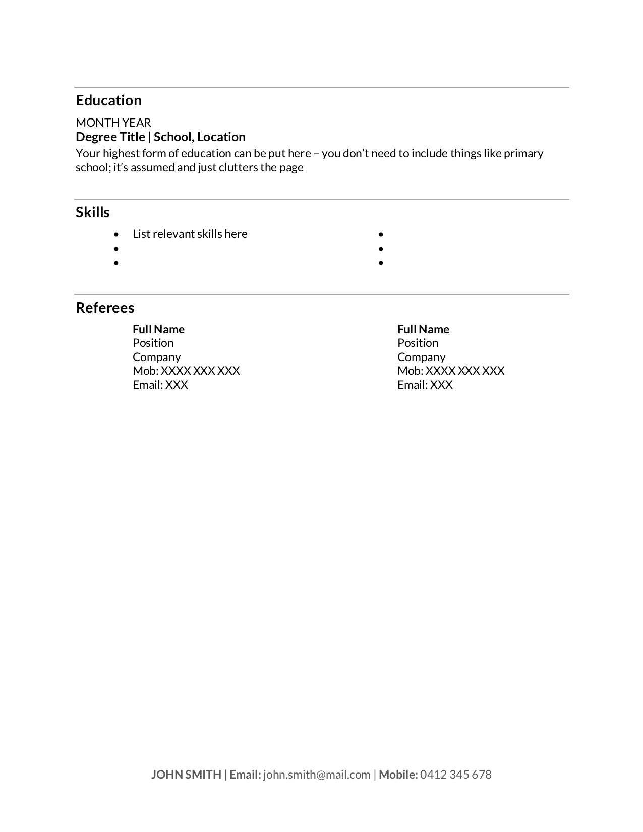 free resume templates to write in training au number location objective for specific job Resume Resume Page Number Location