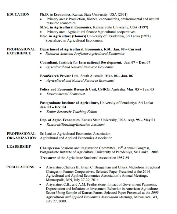 free sample agriculture resume templates in pdf for economics freshers college student Resume Resume For Economics Freshers