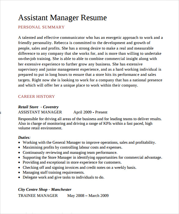 free sample assistant manager resume templates in pdf mcdonalds responsibilities head Resume Assistant Manager Resume Sample