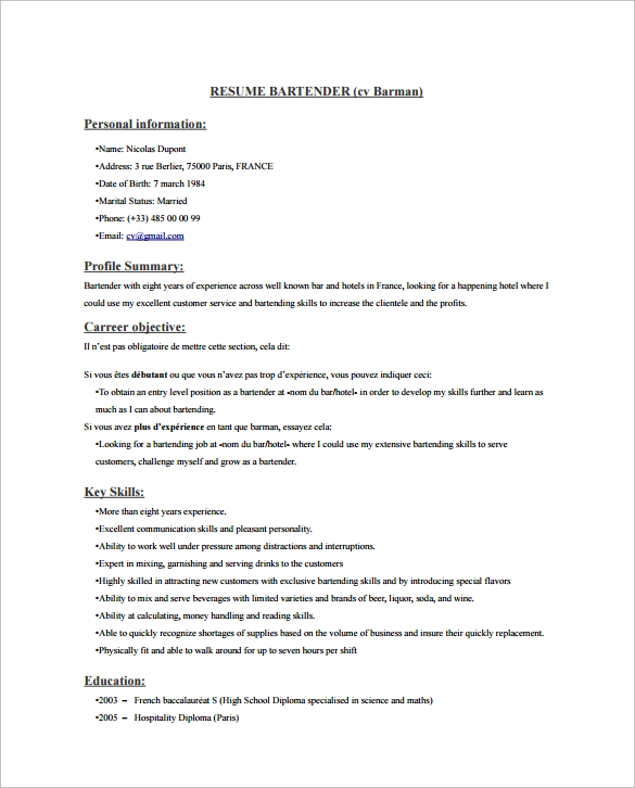 free sample bartender resume templates in pdf ms word bartending template creative small Resume Bartending Resume Template Creative