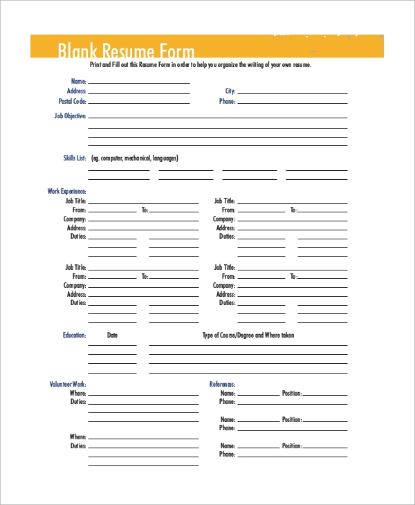 free sample blank resume templates in ms word pdf printable format for form patient Resume Printable Format For Resume
