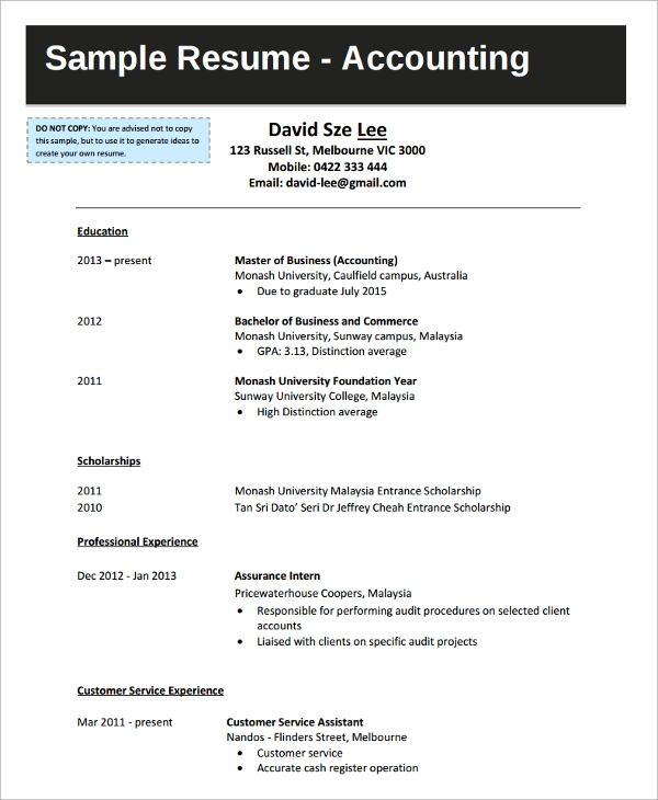free sample college graduate resume templates in ms word pdf fresh accountant accounting Resume Fresh Graduate Accountant Resume