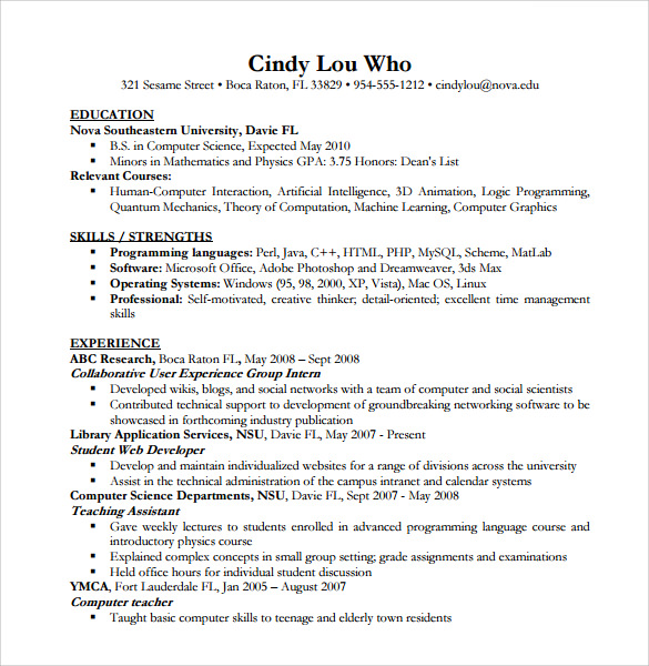 free sample computer science resume templates in pdf ms word technical skills of acting Resume Computer Science Technical Skills Resume