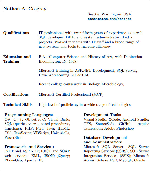 free sample database administrator resume templates in ms word pdf entry level oracle Resume Entry Level Oracle Dba Resume