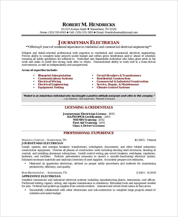 free sample electrician resume templates in ms word pdf template microsoft journeyman Resume Electrician Resume Template Microsoft Word