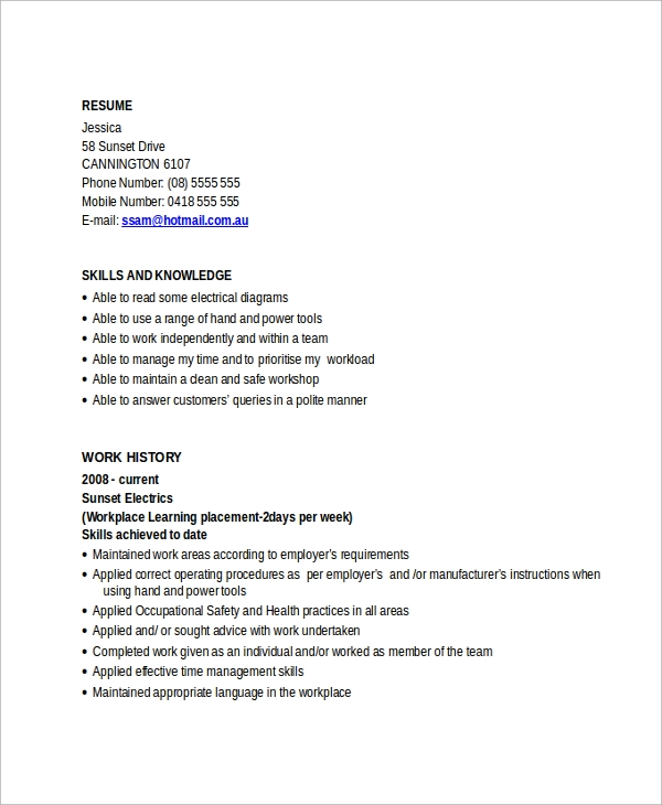 free sample electrician resume templates in pdf ms word readymade format apprentice Resume Free Readymade Resume Format
