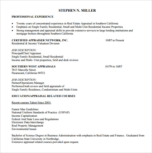 free sample estate resume templates in pdf ms word appraiser objective example livecareer Resume Real Estate Appraiser Resume Objective