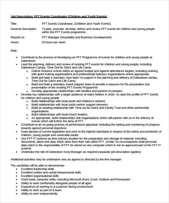 free sample event coordinator resume templates in pdf youth program accounting warehouse Resume Youth Program Coordinator Resume